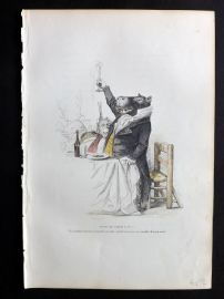 Grandville 1842 Hand Col Print. Hippo making a Toast